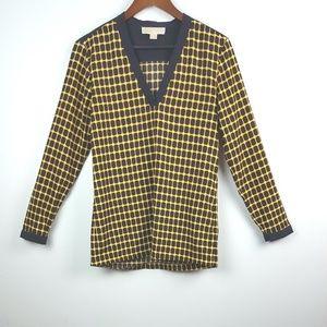 MICHEAL KORS Geometric Black & Yellow Blouse Top